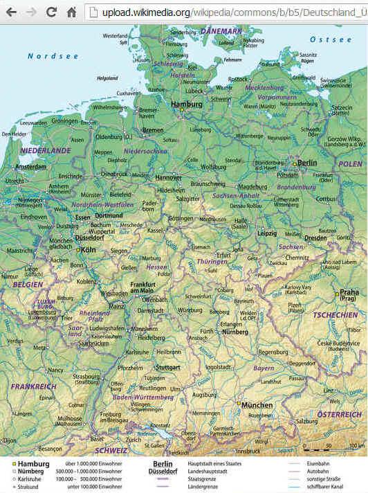 Deutschlandkarte Physisch