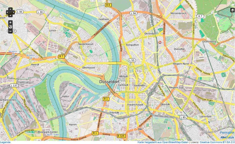 Düsseldorf Karte.Düsseldorf Karte